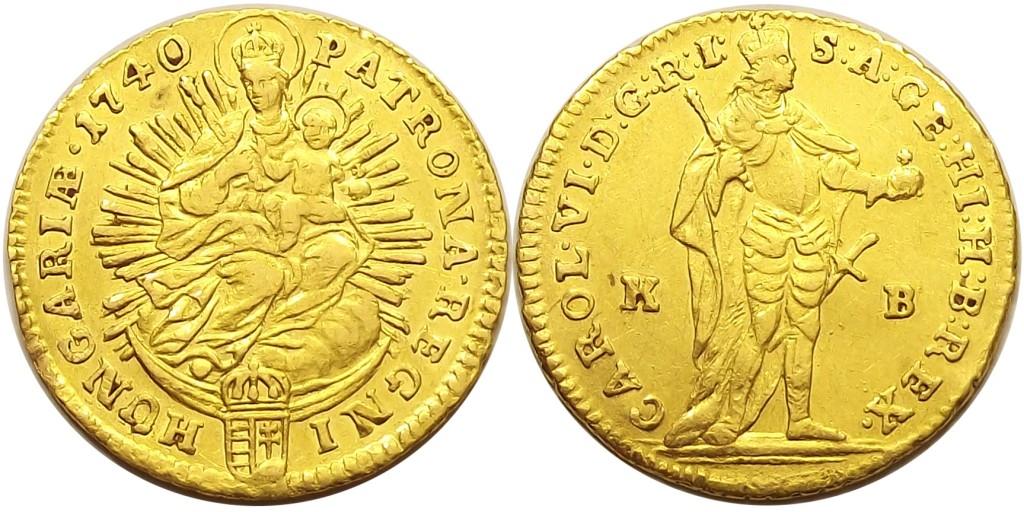 1 dukát 1740 KB III. Károly