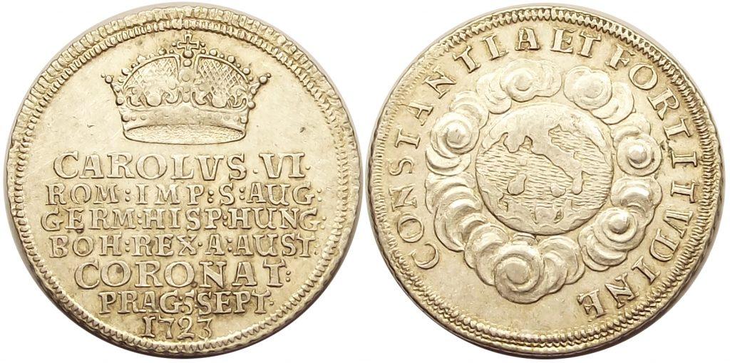 III. Károly koronázási zseton 1723 Prága
