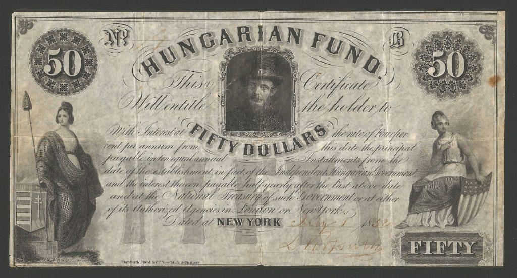 50 dollár 1852 Kossuth Lajos aláírásával