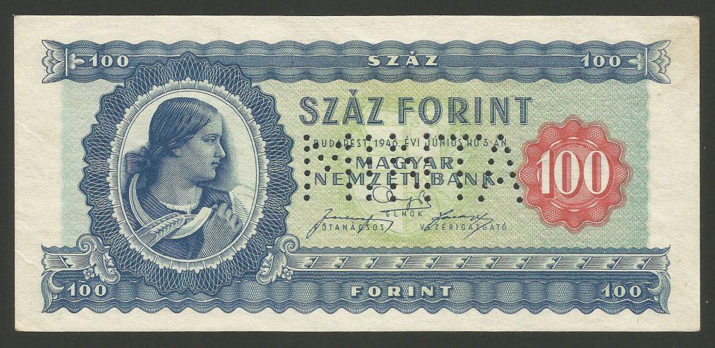 """MINTA 100 forint 1946 – perforált """"000"""" – R!"""