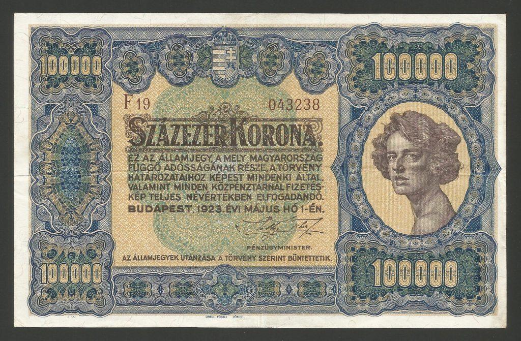 100.000 korona 1923 barna sorszám