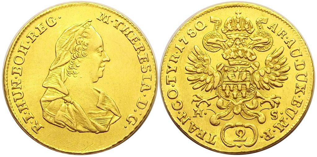 2 dukát 1780 H-S Erdély Mária Terézia – ex 94. Rauch árverés