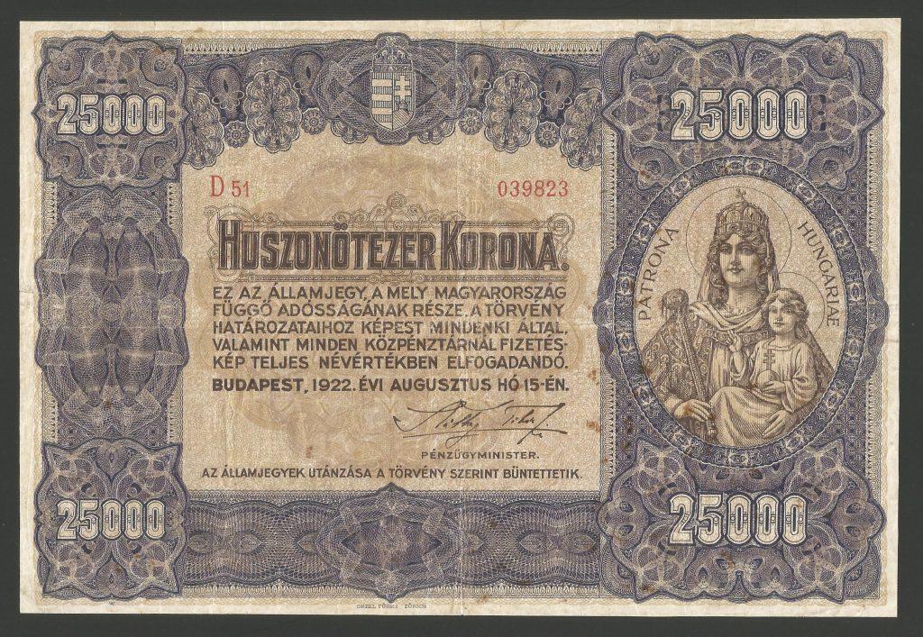 25.000 korona 1922 Orell Füssli