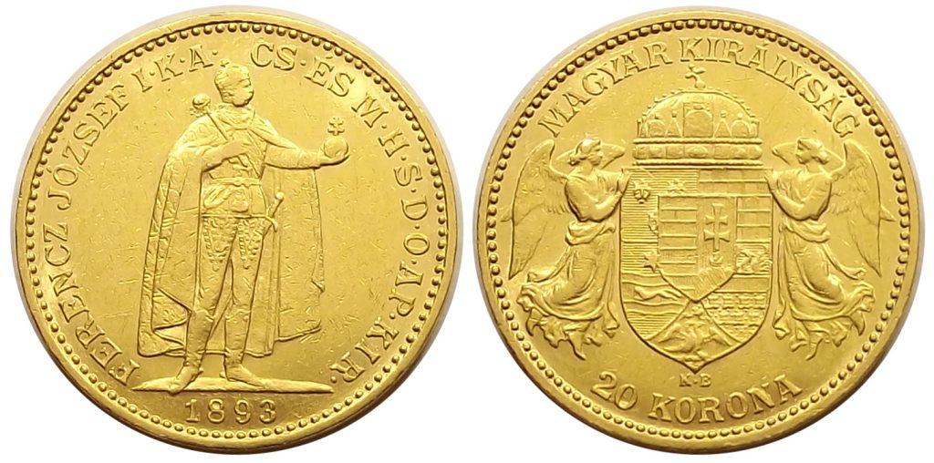 20 korona 1893 kis király Ferenc József