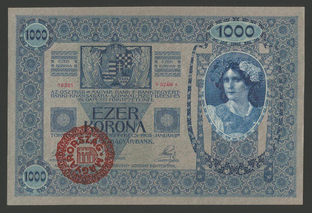 1000 korona 1902 magyar felülbélyegzés