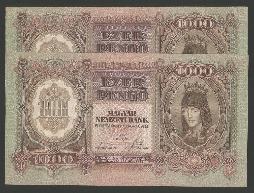 1000 pengő 1943 – sorszámkövető pár