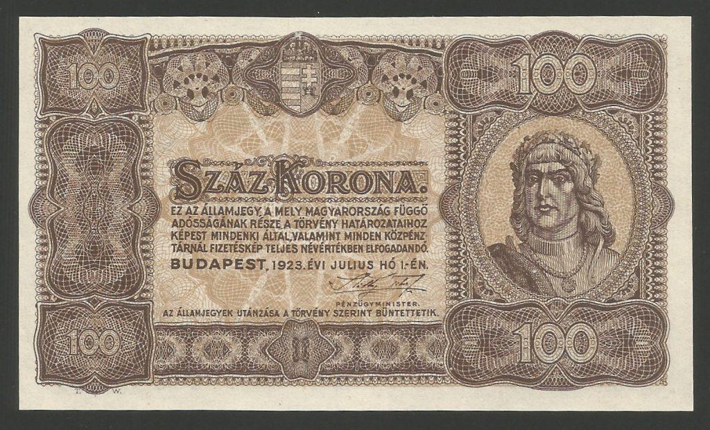 100 korona 1923 (nyomdahely nélkül)