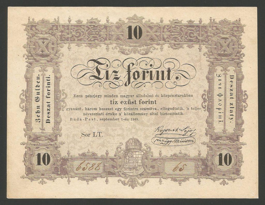 10 forint 1848 Szabadságharc – fordított hátlapi alapnyomat