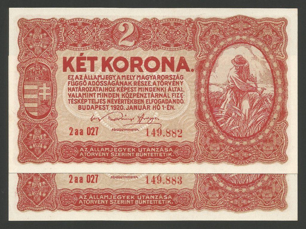 2 korona 1920 sorszámkövető pár