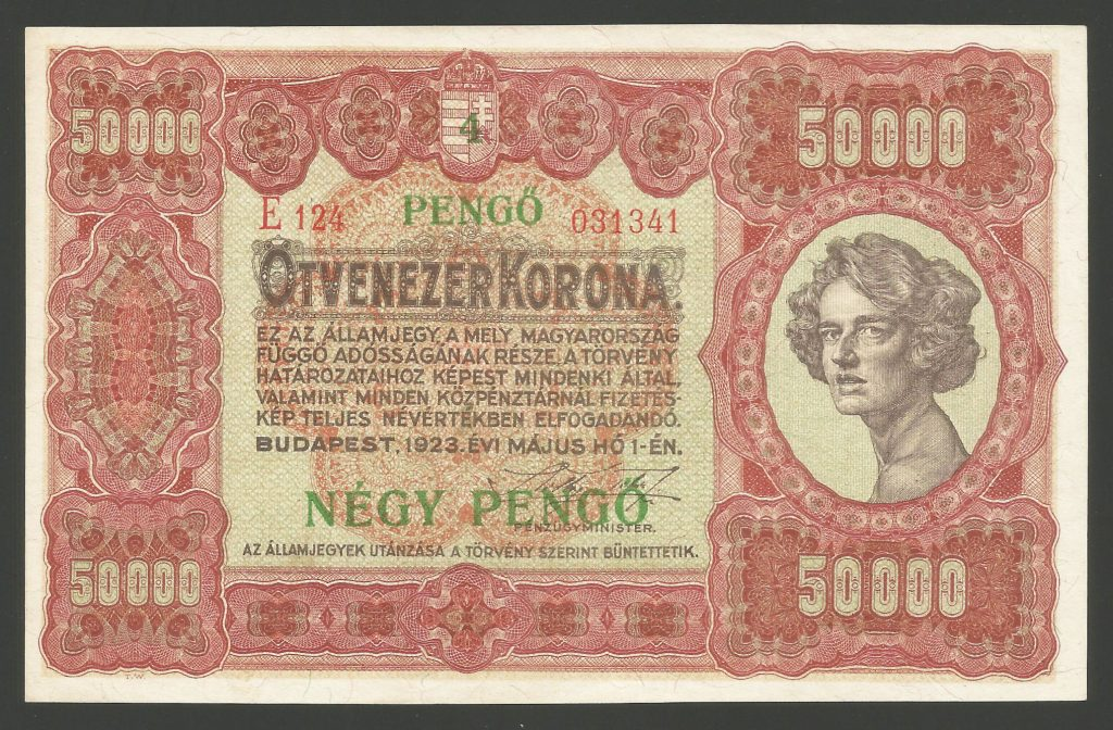 50000 korona 4 pengő 1923 – RR
