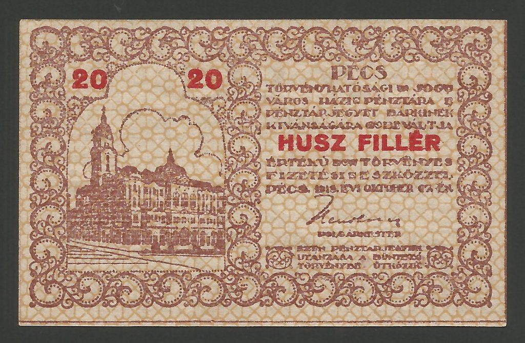 20 fillér Pécs 1919