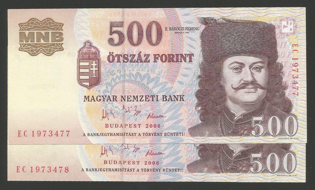 500 forint 2006 EC Forradalom sorszámkövető pár