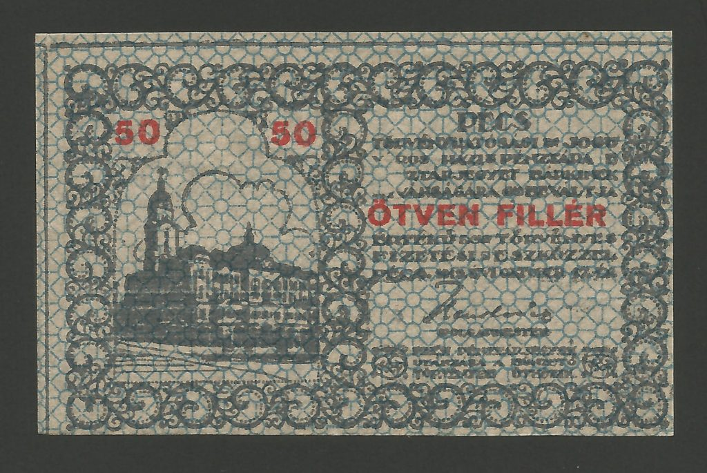 50 fillér Pécs 1919