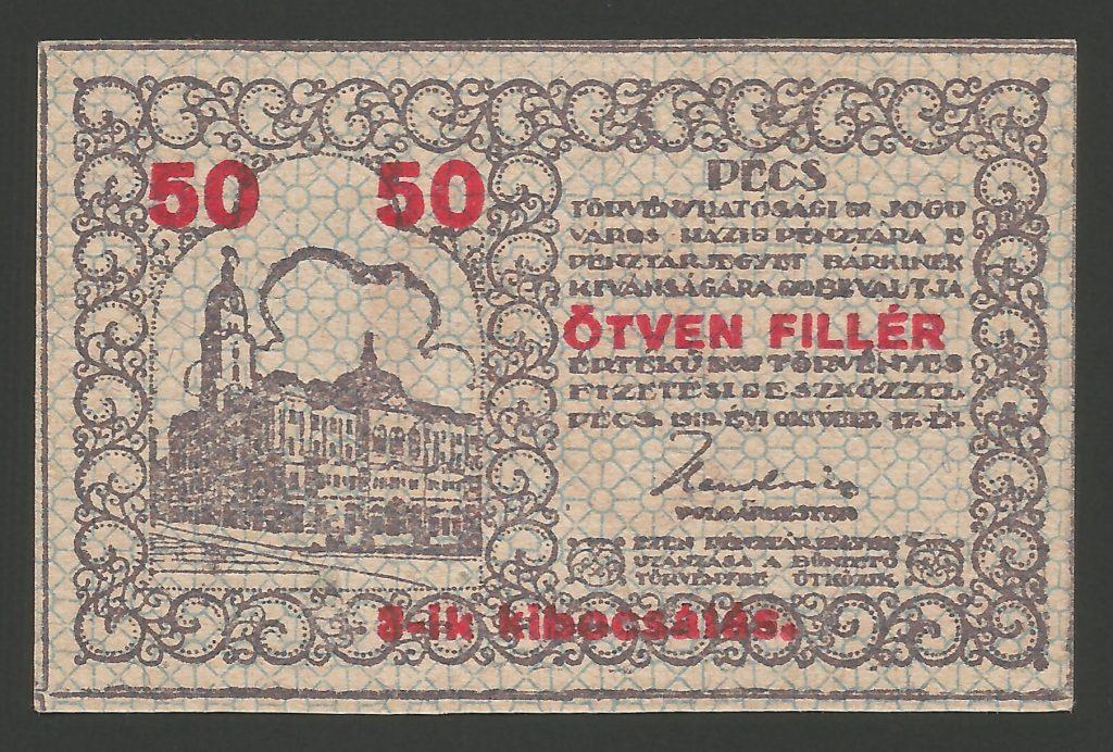 50 fillér Pécs 1919 3-ik kibocsátás