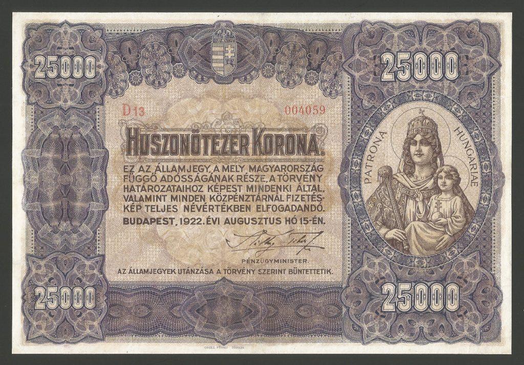 25000 korona 1922
